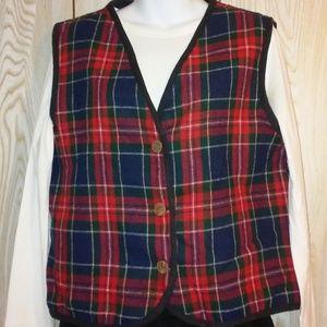 Barrie Stephens Plaid Vest, Size Medium